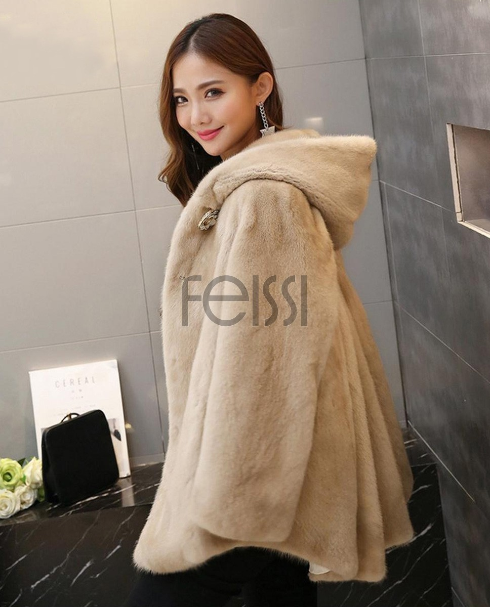 Hooded Mink Fur Coat 753 Beige 1