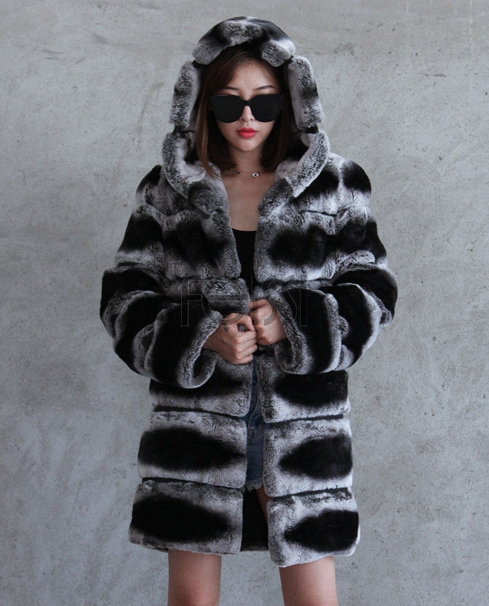 Hooded Rex Rabbit Fur Coat with Chinchilla Look 255a