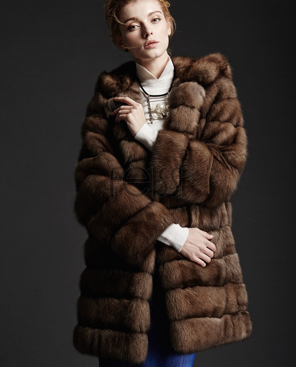 Hooded Sable Fur Coat 181a