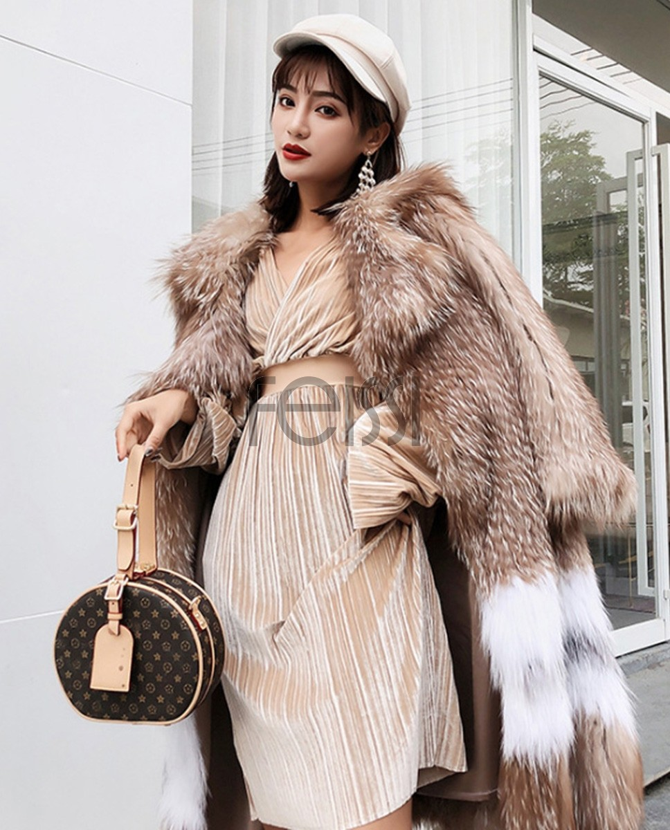Knitted Fox Fur Coat 301a