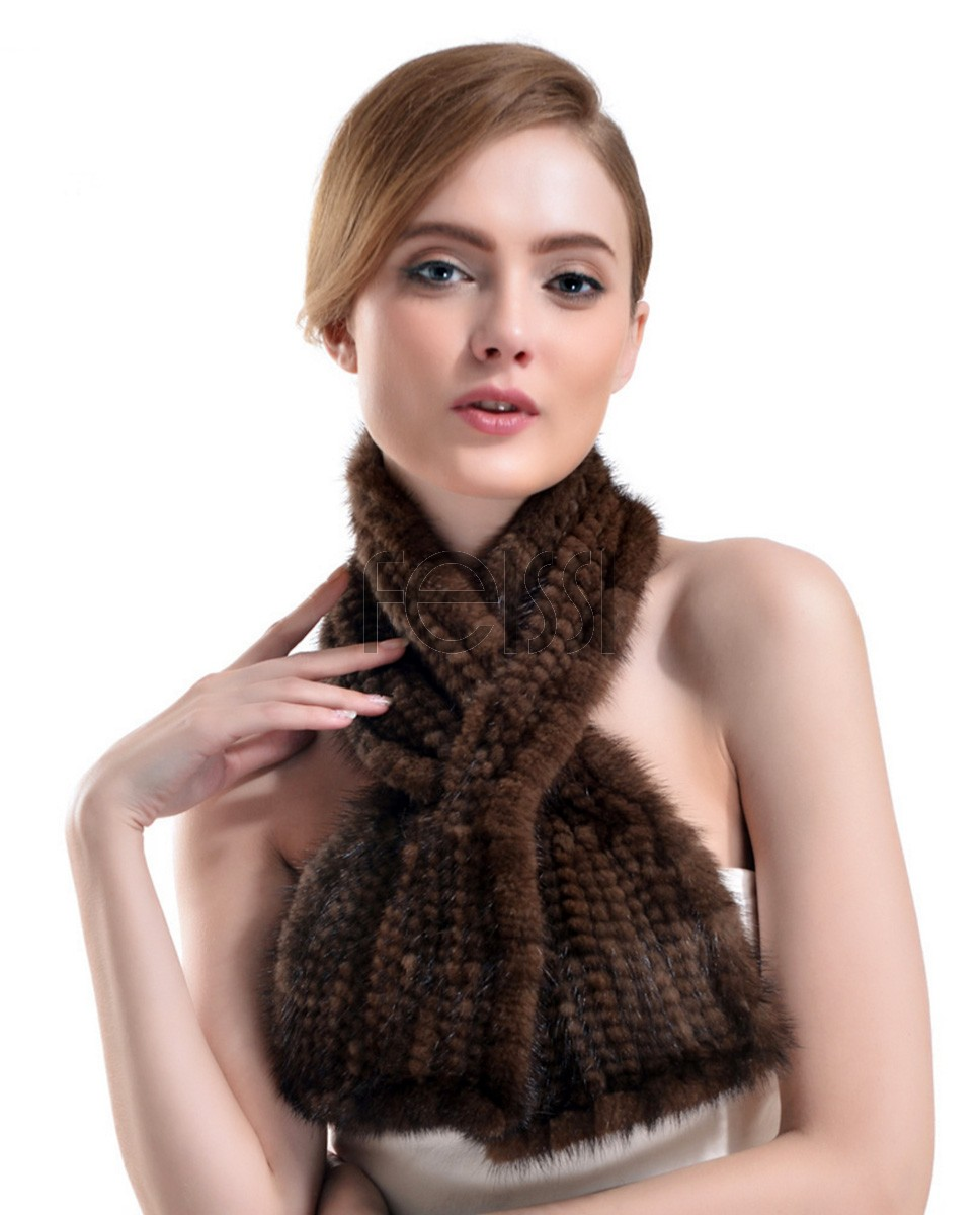 Knitted Mink Fur Scarf 726 Coffee 1
