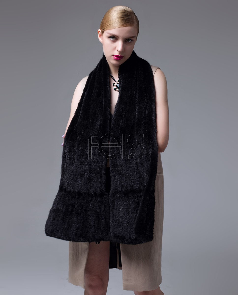 Knitted Mink Fur Shawl 685 Black-3