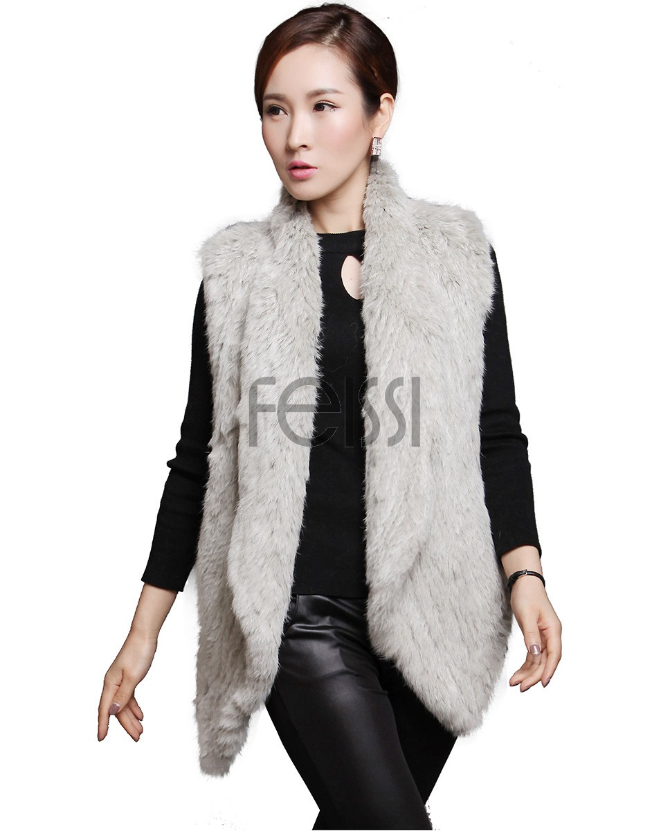 Knitted Rabbit Fur Vest in Gray 606_1