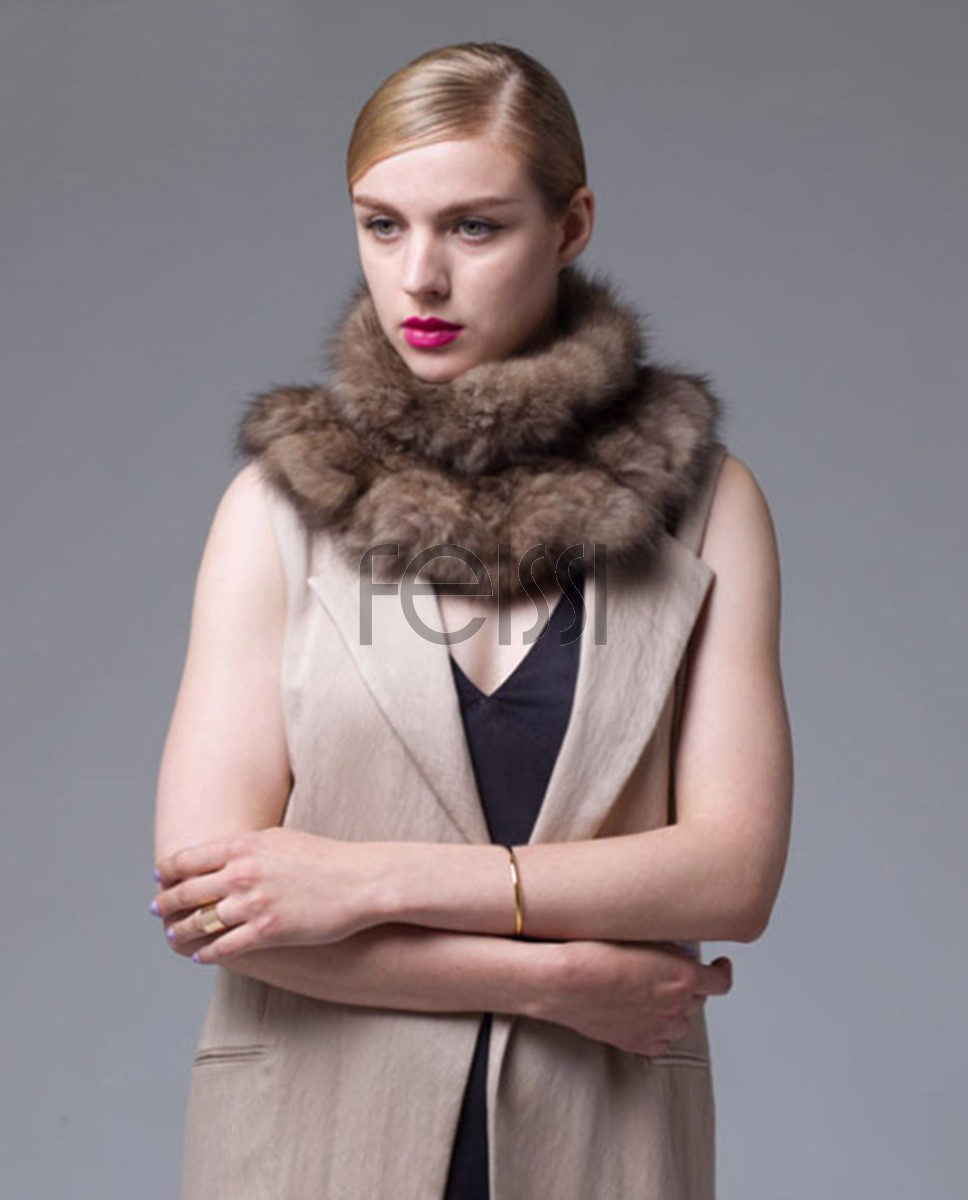Knitted Sable Fur Neck Warmer Scarf 035a