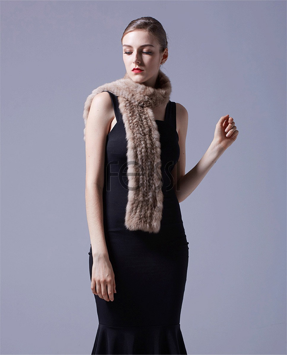 Knitted Sable Fur Scarf 073a