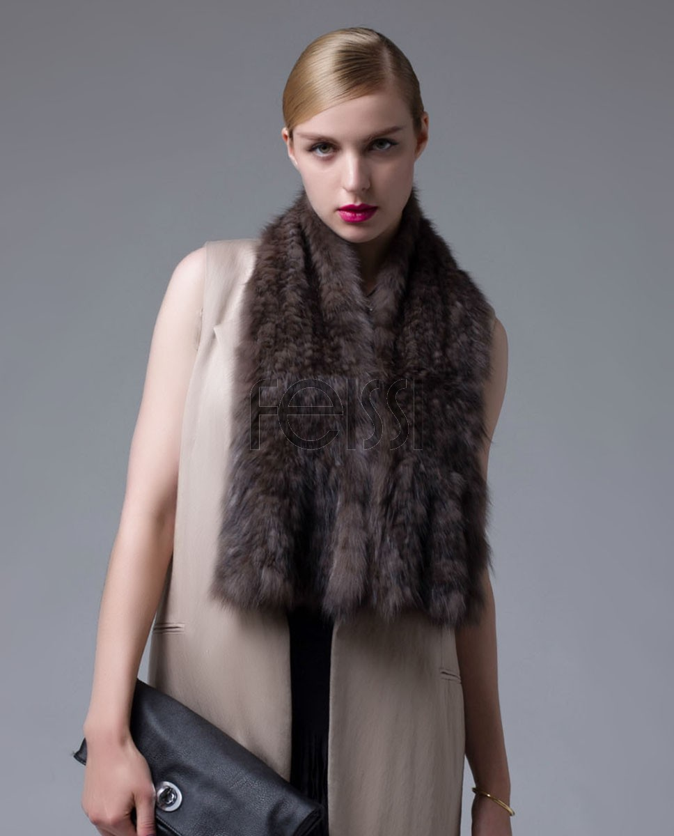 Knitted Sable Fur Scarf Wrap 686 Brown_1