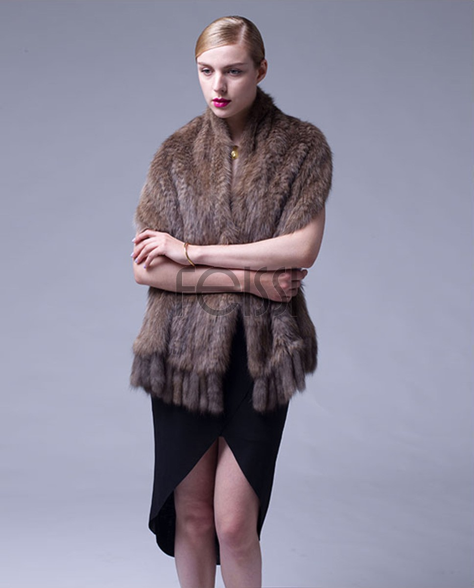 Knitted Sable Fur Shawl 063a