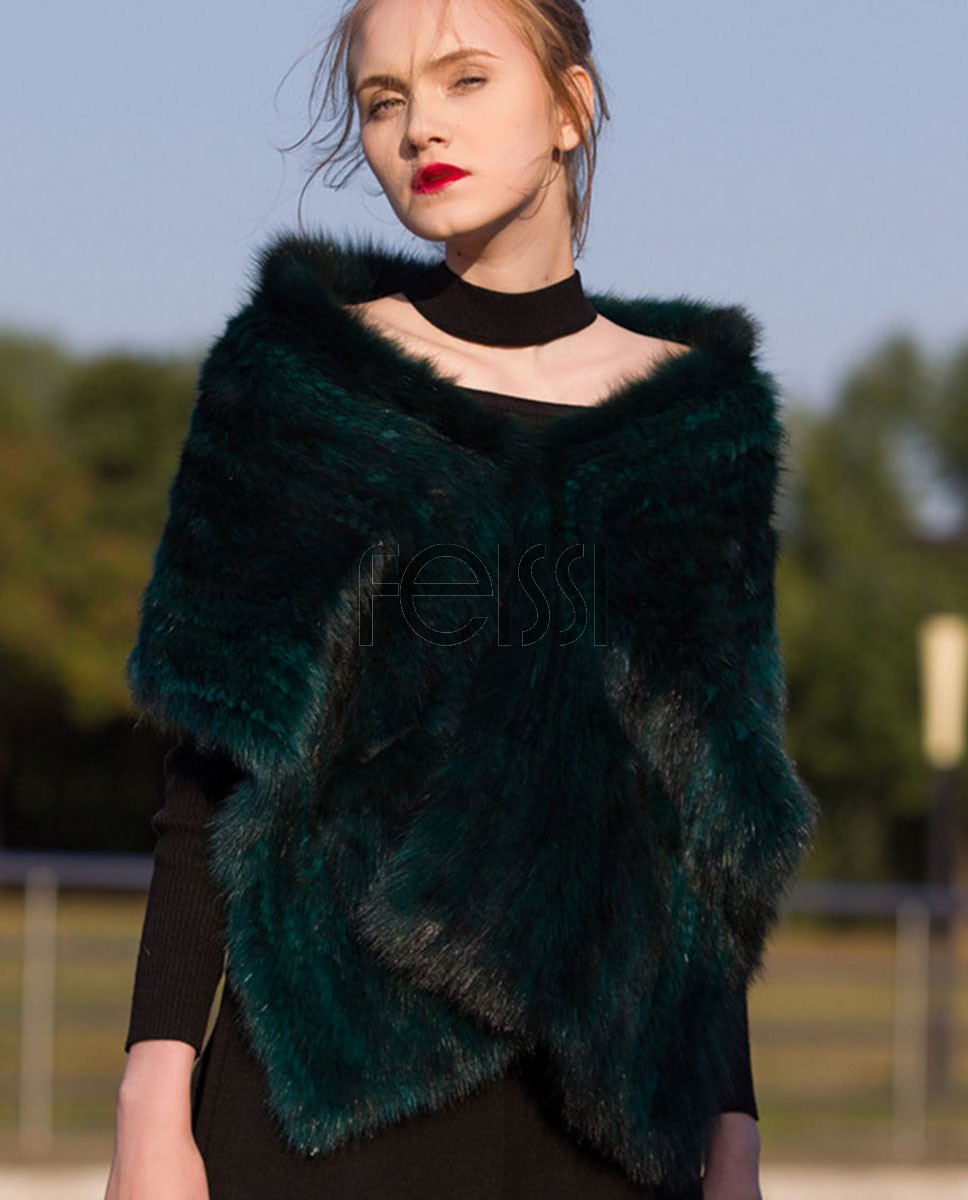 Knitted Sable Fur Shawl Cape 687 Green