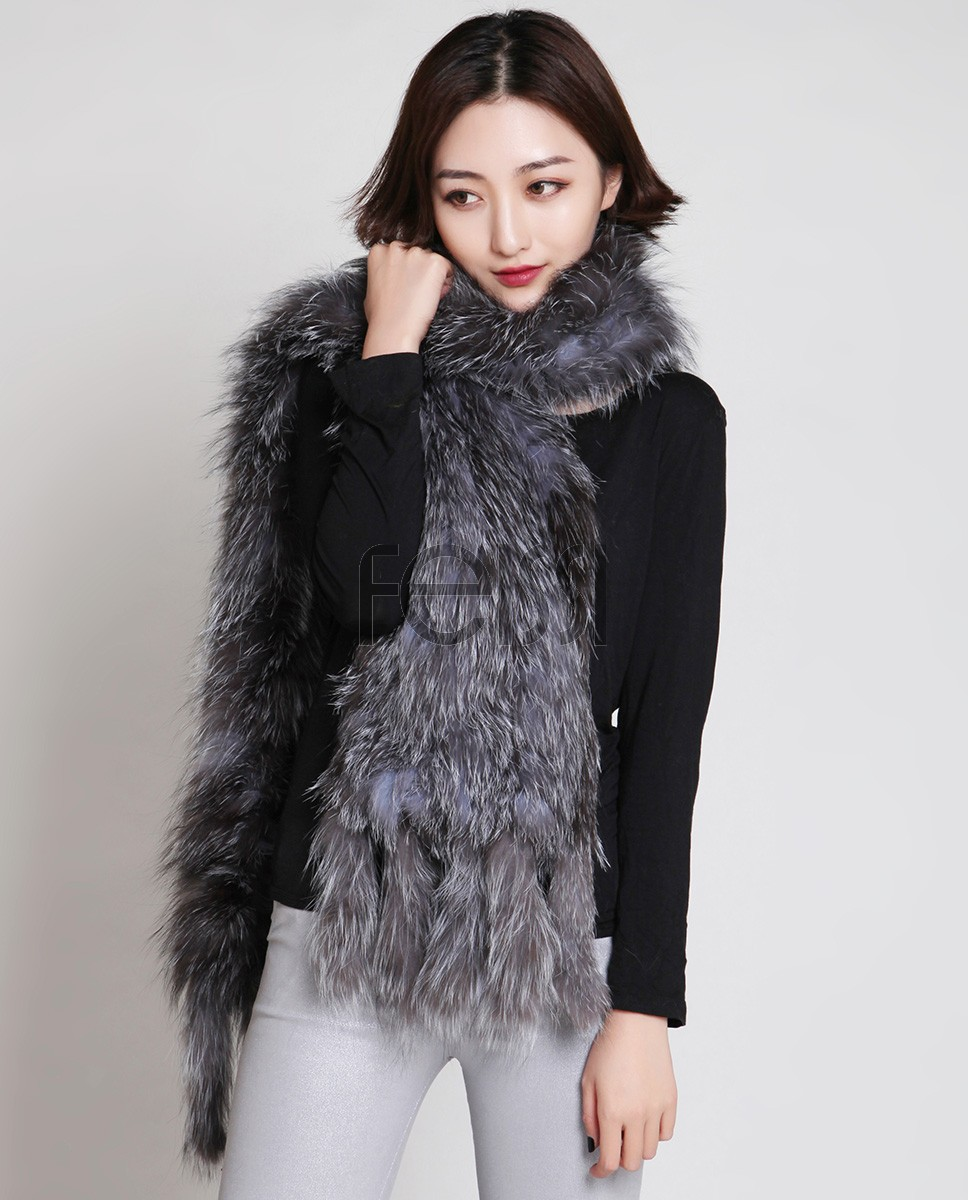 Knitted Silver Fox Fur Shawl 884a