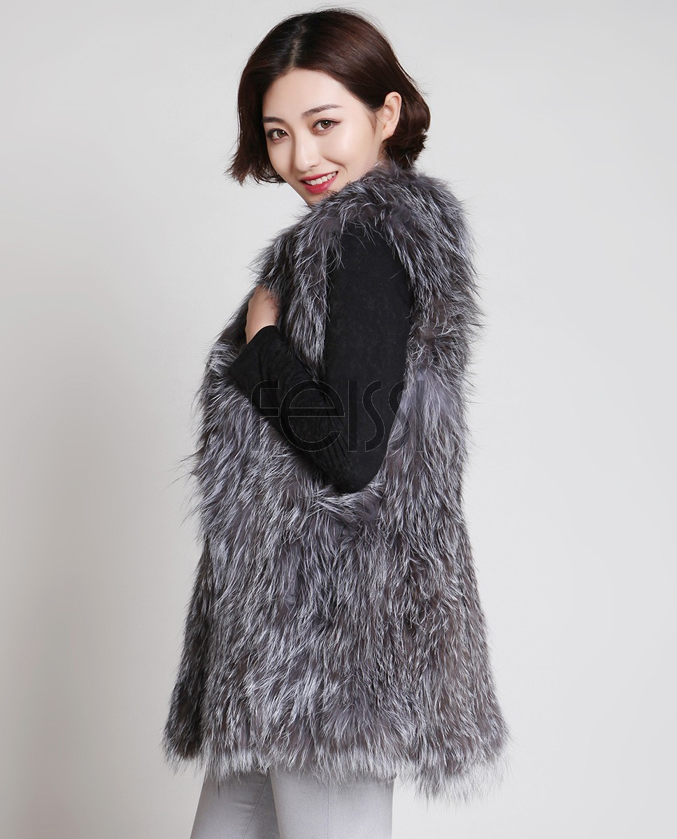 Knitted Silver Fox Fur Vest 887a