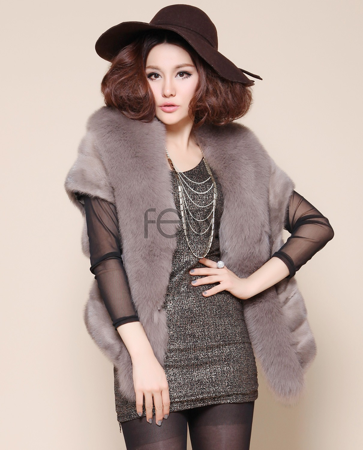 Mink Fur Cape with Fox Trimming Grey 1