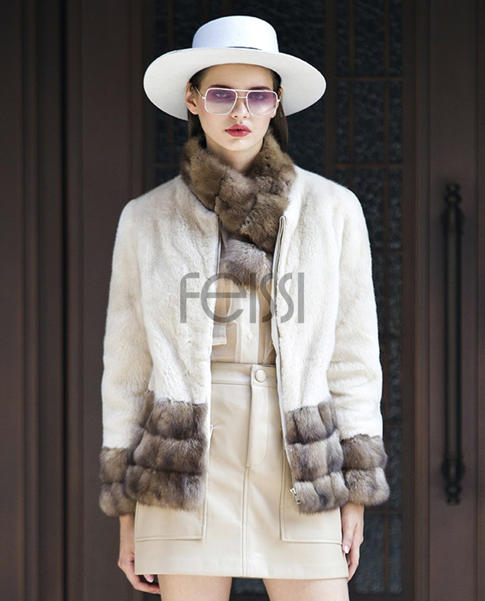 Mink Fur Jacket with Sable Fur Trim 0116a