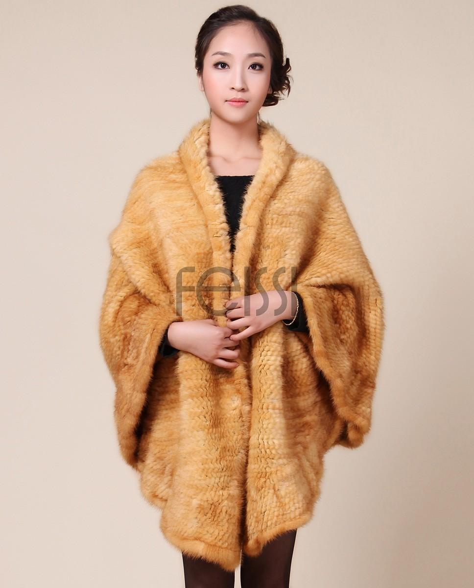 Mink Fur Knitted Cape Golden camk71_1