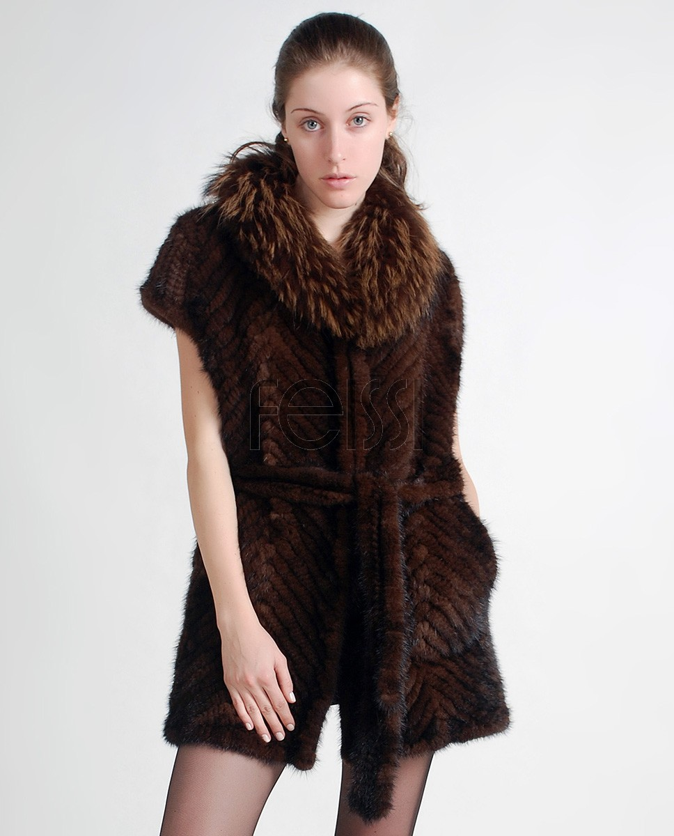 Mink Fur Knitted Jacket ffjamik31-1