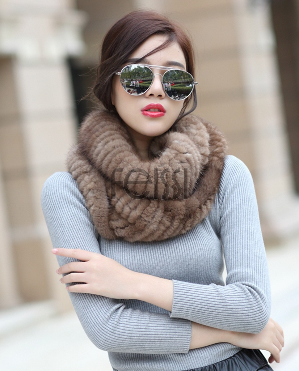 Mink Fur Knitted Neck Warmer Wrap 863a