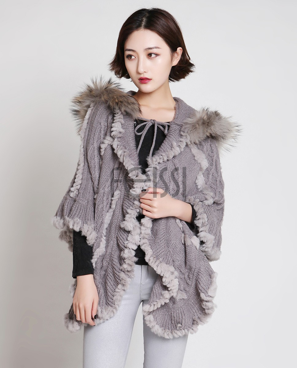 Rabbit Fur Knitted Cape With Raccoon Fur Trimming 716 Gray 5