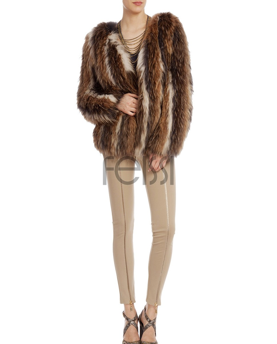 Raccoon Fur Knitted Jacket 766a