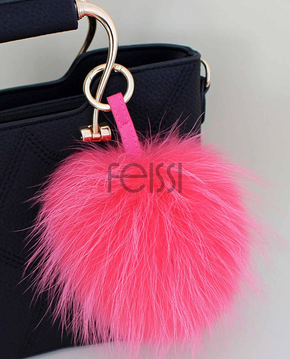 Raccoon Fur Pompoms Pendant Bag Charm 901a