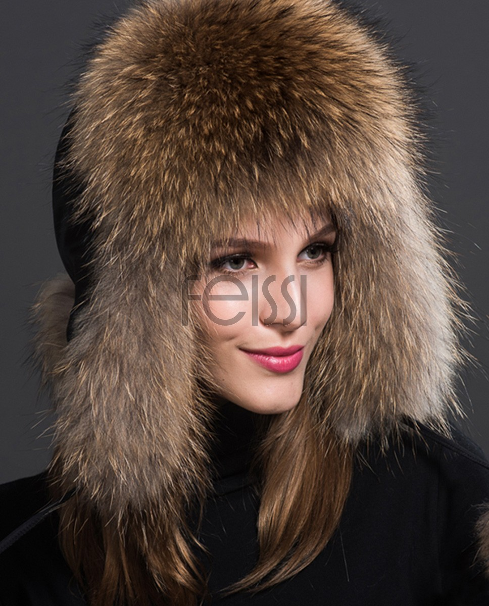 Raccoon Fur Trapper Hat 855a