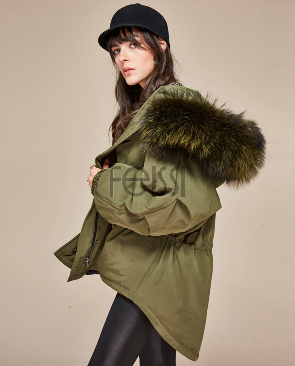 Raccoon Fur Trimmed Hooded Down-filled Parka 112 Green 1