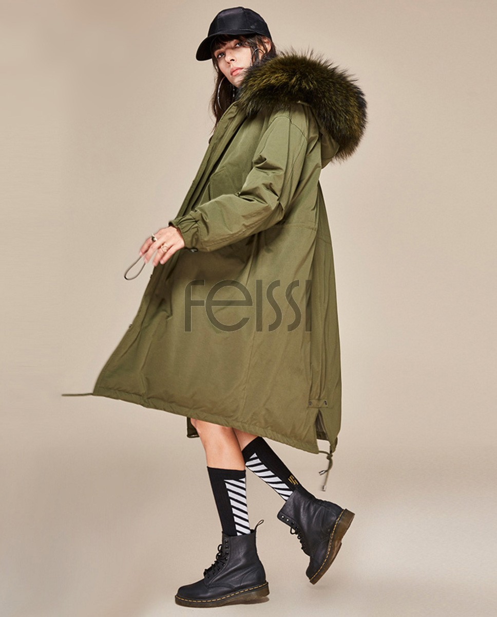 Raccoon Fur Trimmed Hooded Down-filled Parka 125a