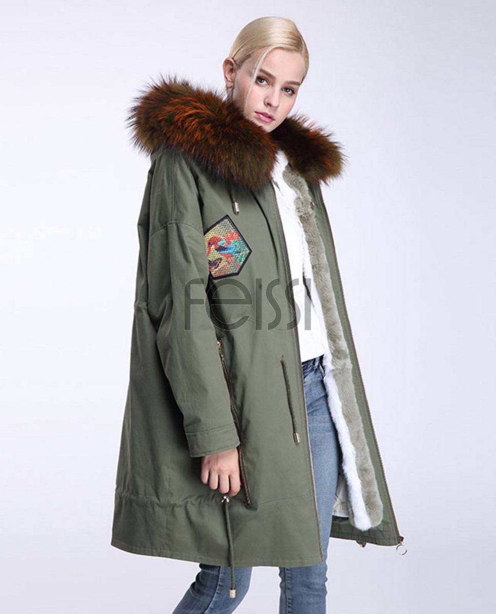 Raccoon Fur Trimmed Hooded Parka with Detachable Down-filled Liner 934a