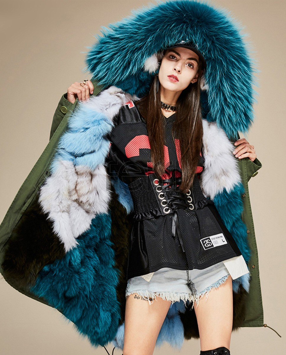 Raccoon Fur Trimmed Hooded Parka with Detachable Fox Fur Liner 134a1
