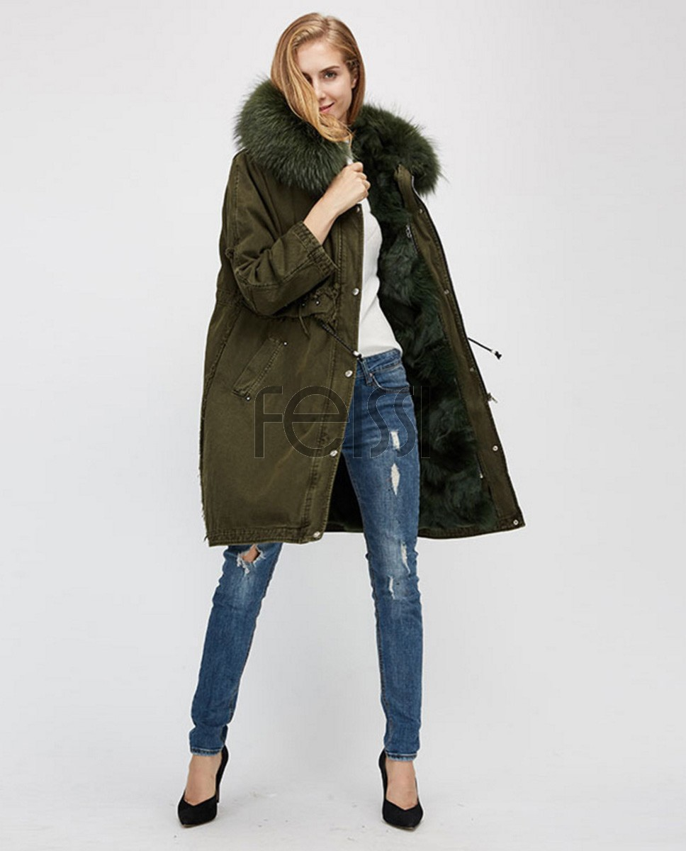 Raccoon Fur Trimmed Hooded Parka with Detachable Fox Fur Liner 938a