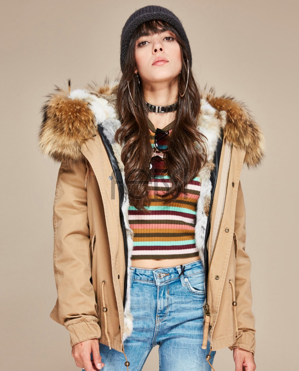 Raccoon Fur Trimmed Hooded Parka with Detachable Rabbit Fur Liner 131a