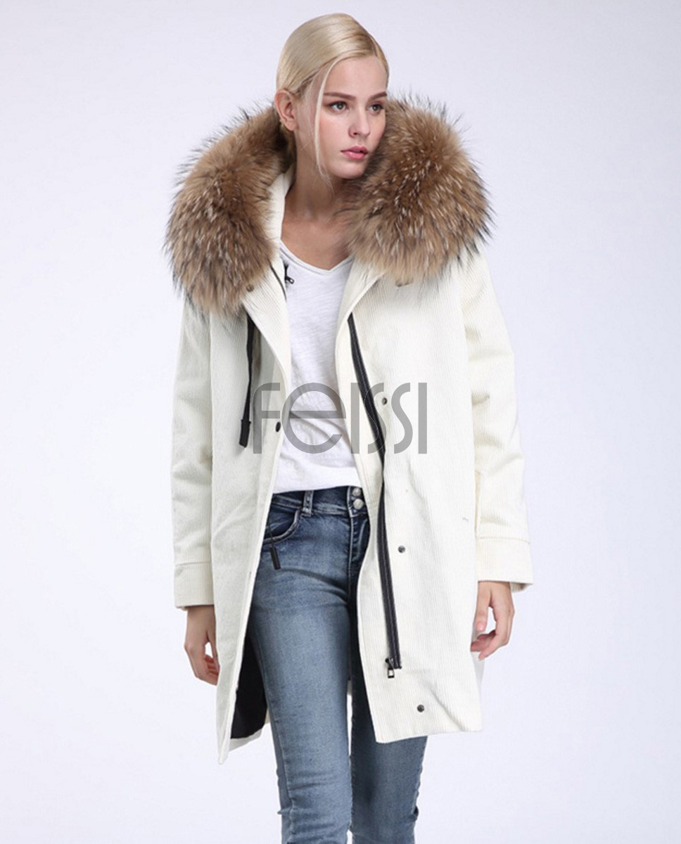 Raccoon Fur Trimmed Hooded Parka with Detachable Sheep Fur Liner 933a