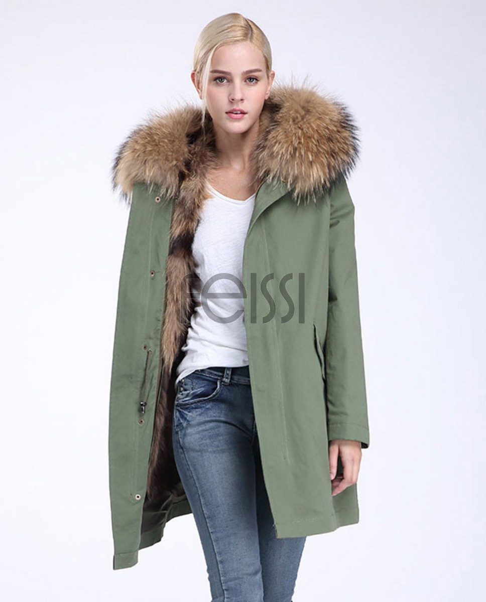 Raccoon Fur Trimming Hooded Parka with Detachable Coyote Fur Liner 949 Green 1