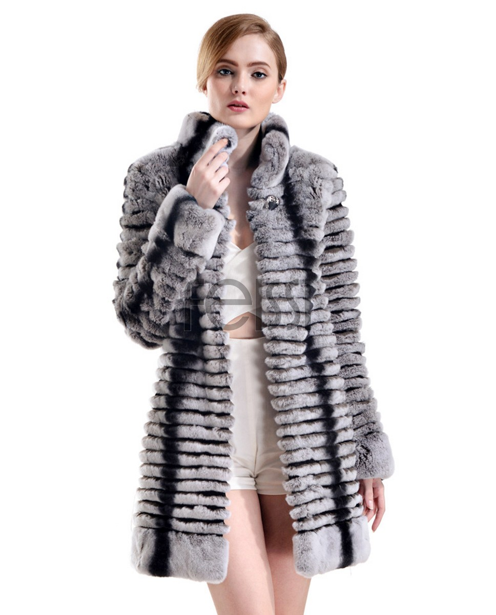 Rex Rabbit Fur Coat with Chinchilla Fur Look 728a
