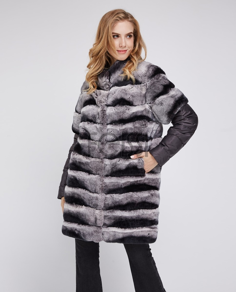 Rex Rabbit Fur Jacket with Detachable Sleeves 954f