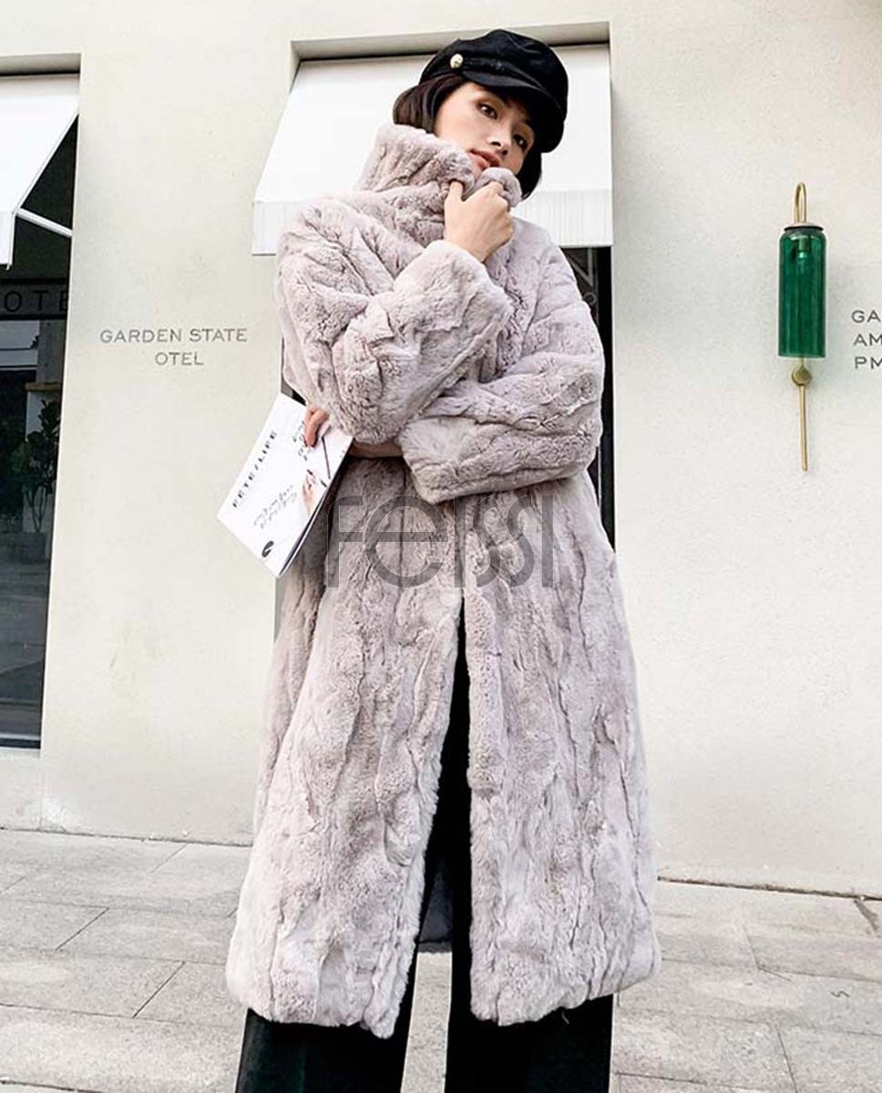 Rex Rabbit Fur Long Coat Beige 0036ga