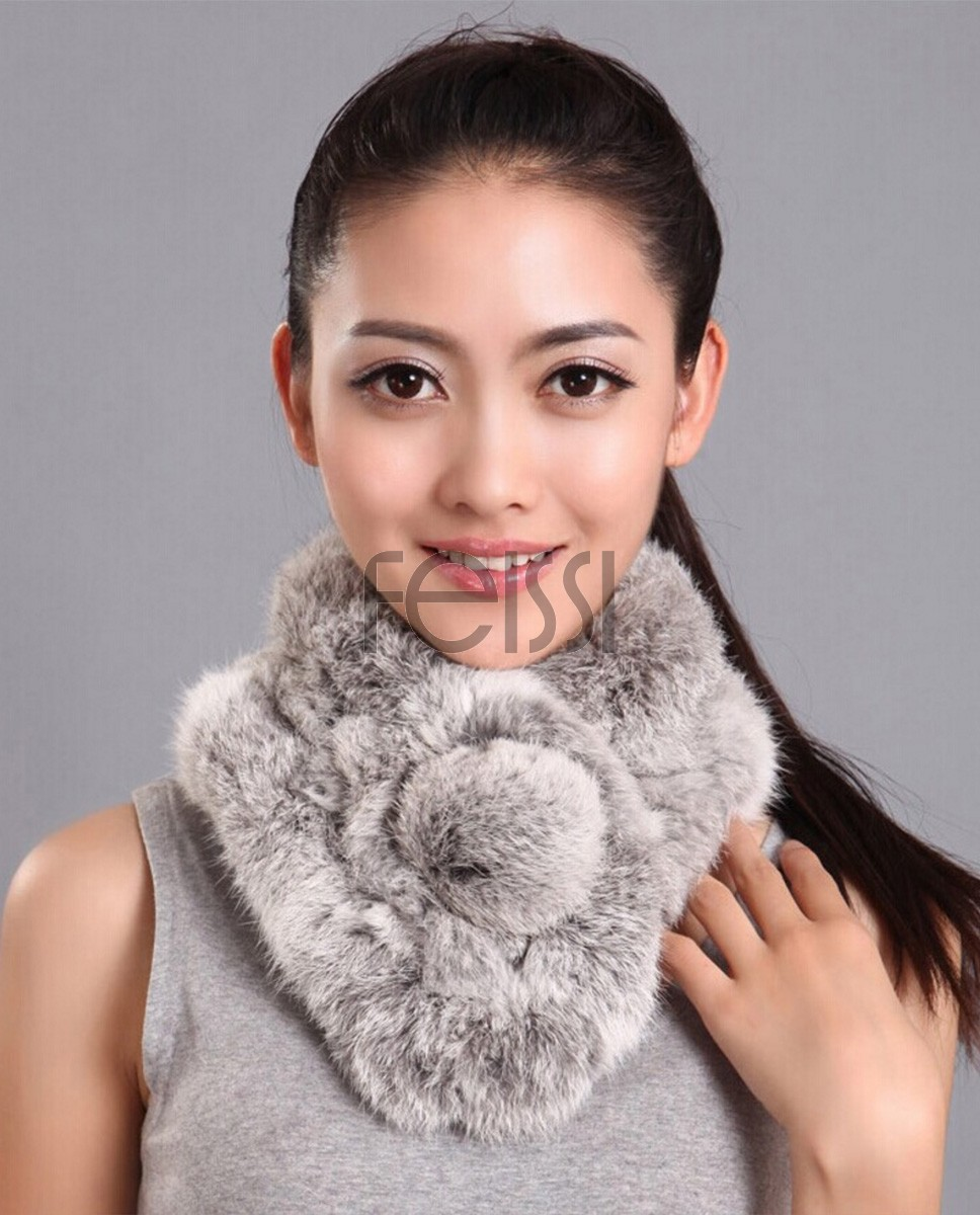 Rex Rabbit Fur Scarf 667 - Gray