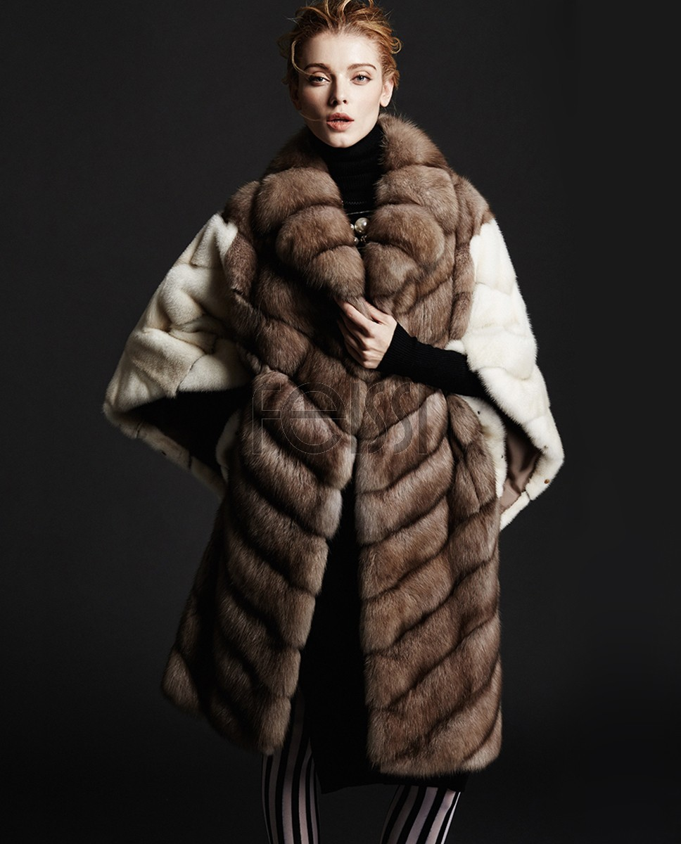 Sable Fur Coat with Mink Fur Sleeves and Back 180a