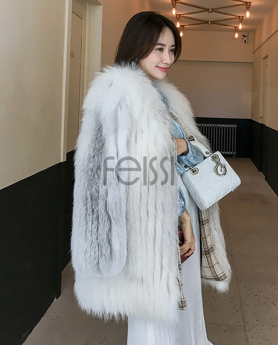 Shadow Blue Frost Fox Fur Coat 0022a