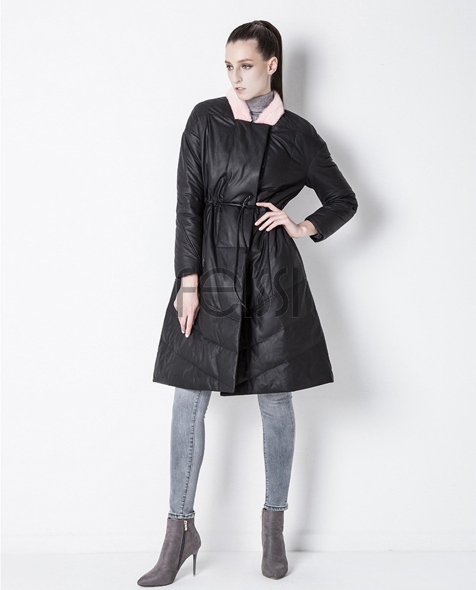 Sheepskin Leather Down-Filled Coat with Mink Fur Collar 800a