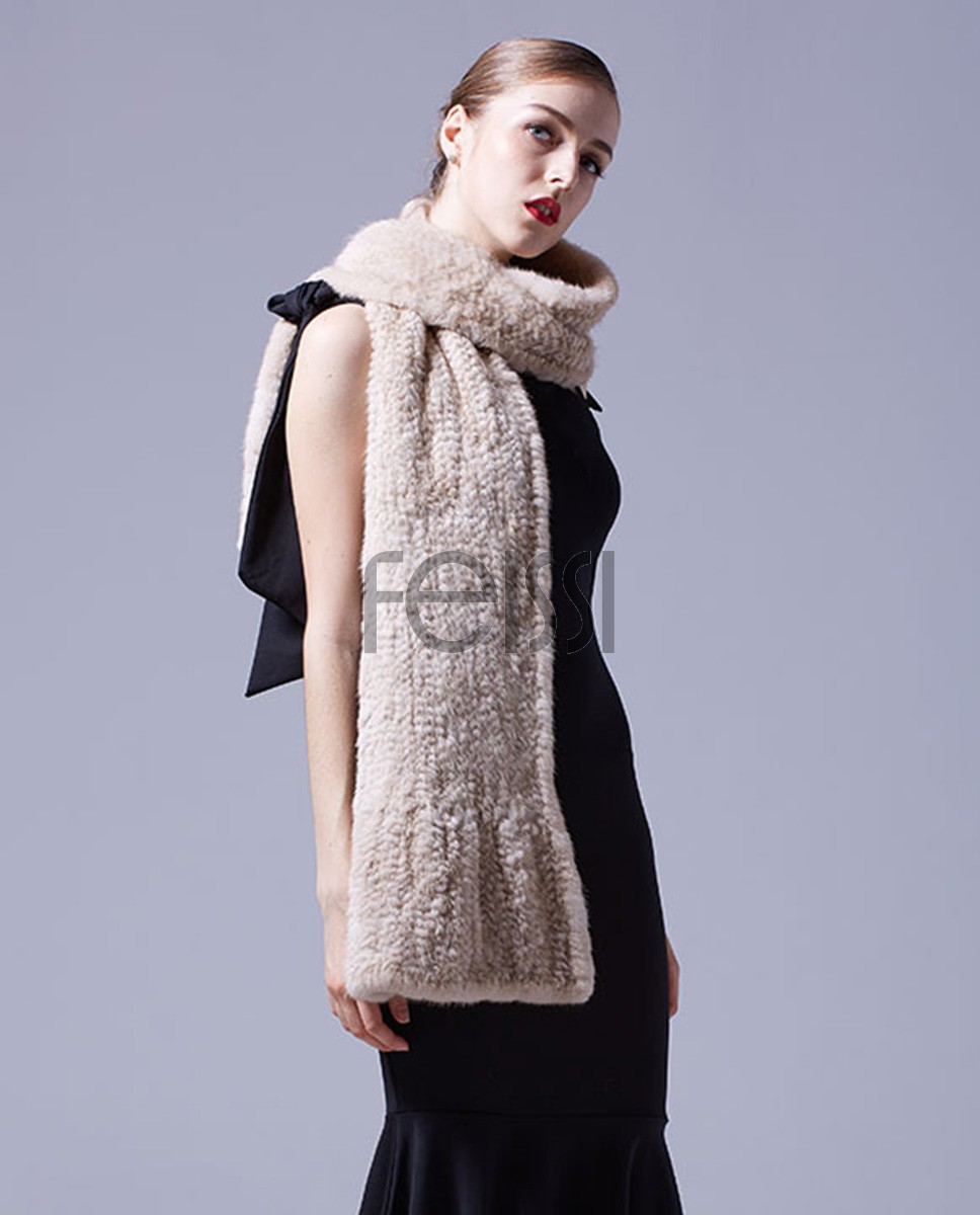 Velvet Mink Fur Knitted Shawl 029a