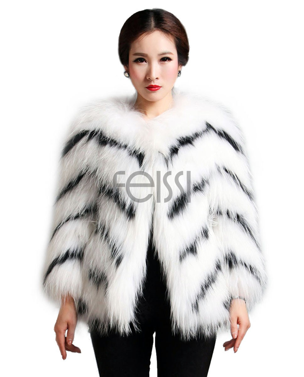 Women's Knitted Raccoon Fur Coat 596_1