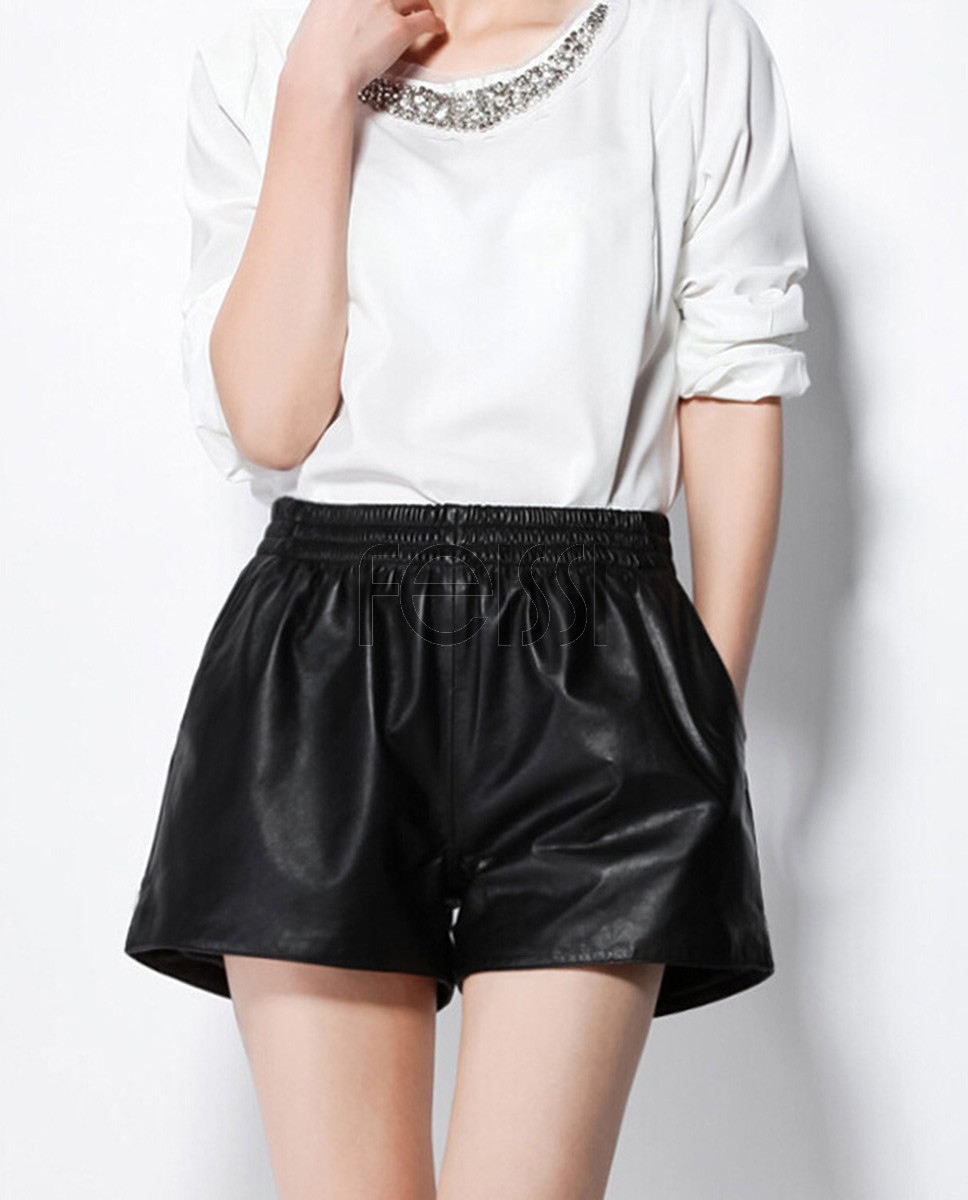 Women's Real Leather Short Pants 020a
