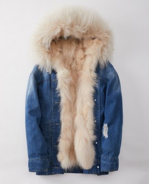 Denim Mini Parka Coat with Fox Fur Liner and Raccoon Fur Trimmed Hood
