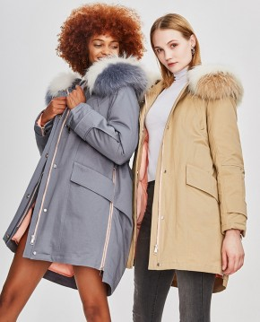 Raccoon Fur Trimmed Hooded Down-filled Winter Coat in Cloud-gray