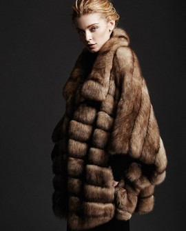 Batwing Sleeved Sable Fur Jacket
