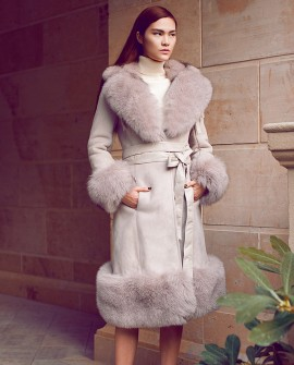 Belted Shearling Sheepskin Coat with Fox Fur Trim 101a