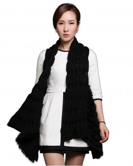 Black Rabbit Fur Knitted Vest with Wool Knitting 619_1