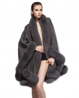 Cashmere Cape with Fox Fur Trim, Grey