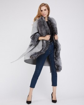 Cashmere Cardigan Jacket with Silver Fox Fur Trimming 230c