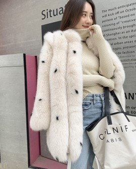 Cream-White Fox Fur Coat with Black Dots