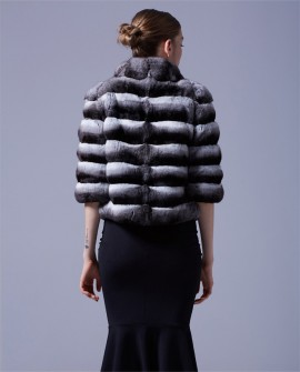 Cropped Chinchilla Fur Bolero Jacket